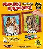 Wypukła malowanka Psy - Owczarek szetl. + Golden