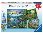 Puzzle 3x49 Fascynacja Dinozaurami