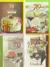 Karnet B6 z elem. 70-te urodziny (10szt) MIX