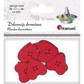 Drewniane serca czerwone 30x30mm 12szt