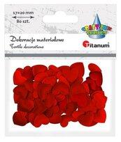 Materiałowe serca 20x17mm czerwone 80szt