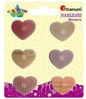 Naklejki foliowe serca mix rozmiar. czerwone 12szt