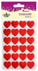 Naklejki papierowe serca 18x18mm czerwone 24szt