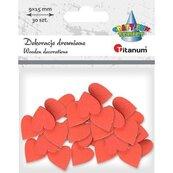 Drewniane serca 9x15mm czerwone 30szt