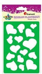 Szablon plastikowy serca 148x105mm zielono-fiolet