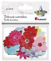 Kwiatki materiałowe serca, motylki, kokardki mix
