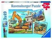 Puzzle 3x49 Duże pojazdy budowlane