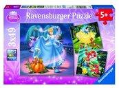 Puzzle 3x49 Królewna Śnieżka, Kopciuszek i Arielka