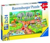 Puzzle 2x24 Dzień w zoo