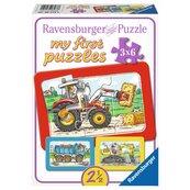 Puzzle 3x6 -traktor, koparka i ciężarówka