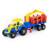 """Polesie 35295 """"Majster""""Traktor z przyczepą do przewozu dłużycy w siatce"""