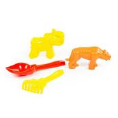 Polesie 57563 Zestaw Nr563: łopatka Nr5, grabki Nr5, foremki (tygrys + mamut)
