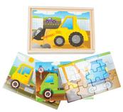 Układanka drewniana - Pojazdy budowlane w skrzyneczce 02506