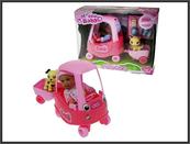 Autko z lalką i przyczepką w pud. 16x24cm 2807