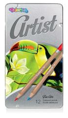 Kredki ołówkowe okrągłe ARTIST 12 kol. Metalowe pudełko Colorino Kids