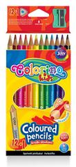 Kredki ołówkowe trójkątne 12 kol. + tem. Colorino Kids new