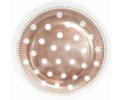 Talerzyki papierowe B&C groszki różowo-złote 23cm p6