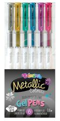 Długopisy żelowe 6 kolorów metalic Coloroino p20