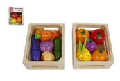 Owoce / warzywa w skrzyneczce 11 elementów 15x12cm