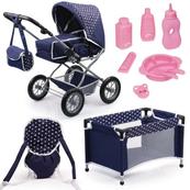 Mega Zestaw Bayer Wózek dla lalek Combi Grande granatowy + łóżeczko + nosidełko + akcesoria