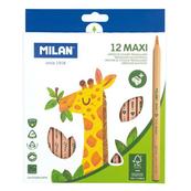Kredki Maxi trójkątne natural 12 kolorów 07226212FSC MILAN cena za 1szt.
