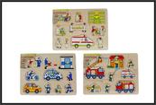 Puzzle drewniane 30x22cm Policja, Straż, Pogotowie 610067 HIPO cena za 1 szt