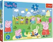 Puzzle 15el MAXI - Szczęśliwy dzień Peppy. Świnka Peppa 14334 Trefl