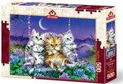 Puzzle 500 Kocięta huśtające się w blasku księżyca