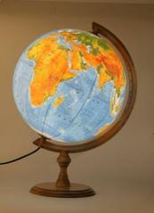 Globus 320 polityczno-fizyczny podświetlany drewno w pudełku 0324