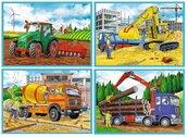 Puzzle 4w1 Duże maszyny budowlane TREFL