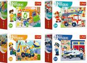 """Puzzle 20el """"miniMaxi"""" Wóz strażacki, śmieciarka, koparka, policja mix 56013(21051,21050,21049,21048)"""