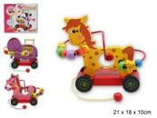 Zabawka drewniana do ciągania na kółkach w pudełku Z5726 cena za 1 szt