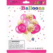Zestaw balonów 1-wsze urodziny niebieskie z konfetti, 30cm, 12 szt. BSC-655