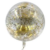 Balon transparentny PVC z złotym konfetti 46cm, 1 szt. BSC-662