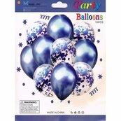 Zestaw balonów metal granatowy i konfetti 33cm, 10 szt. BSC-693