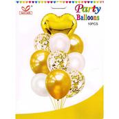 Zestaw balonów ze złotym sercem i konfetti 30-46cm, 10 szt. BCS-570