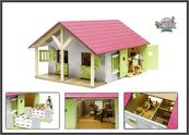 Budynek gospodarczy stajnia drewniana w pudełku 51x40,5x27,5cm