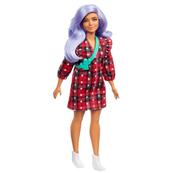 Barbie Lalka Fashionistas Modna przyjaciółka Sukienka w szkocką kratę Jasnofioletowe włosy GRB49 p6 MATTEL
