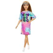 Barbie Lalka Fashionistas Modna przyjaciółka Kolorowa sukienka Ciemnoblond włosy GRB51 p6 MATTEL