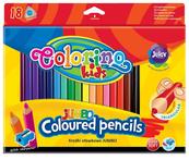 Kredki ołówkowe trójkątne 17,5 cm Jumbo 18 kol + tem. Colorino Kids