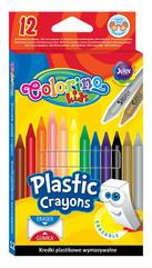 Kredki świecowe okrągłe plastikowe wymazywalne z gumką 12 kol. Colorino Kids