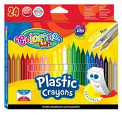 Kredki świecowe okrągłe plastikowe wymazywalne z gumką 24 kol. Colorino Kids 92029