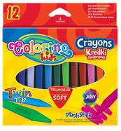 Kredki świecowe trójkątne plastikowe 12 kol. Colorino Kids 32667