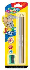 Kredki ołówkowe okrągłe Jumbo 2 szt. srebrna + złota blister Colorino Kids new 51675