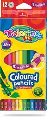 Kredki ołówkowe 12 kolorów heksagonalne z gumką Colorino Kids 87492
