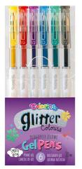 Długopisy żelowe 6 kolorów brokatowe Colorino p20