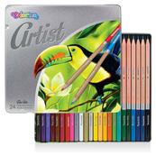 Kredki ołówkowe okrągłe 24 kolory metalowe pudełko Artist Colorino p12