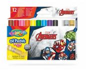 Pastele olejne trójkątne 12 kolorów + temperówka Colorino Kids Avengers