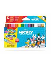 Pastele olejne trójkątne 12 kolorów + temperówka Colorino Kids Mickey