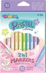 Flamastry dwustronne 10 kolorów pastel Colorino Kids